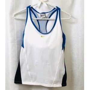 Nike built in bra white workout tank top size M